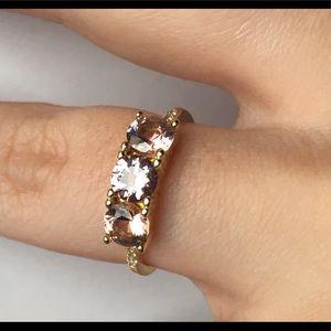 .925 Gold-Vintage Rose Stone & Diamond Ring